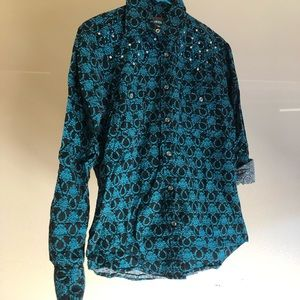 - Cowgirl Hardware Horseshoe Print Button up